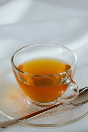 tea break: Glass Cup of Tea for Tea Break. Stock Photo