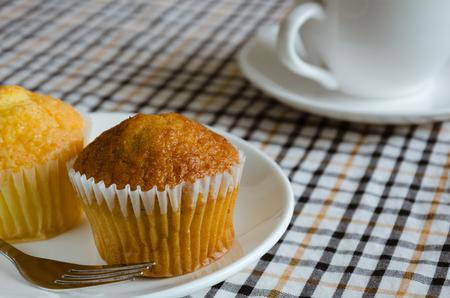 tea break: Butter Cup Cake for Tea Break. Stock Photo
