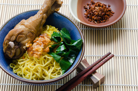 stewed: Egg Noodle with Stewed Chicken Drumstick.