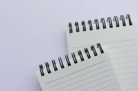 Wirebound Notebook Open with Lined Paper. Stock Photo