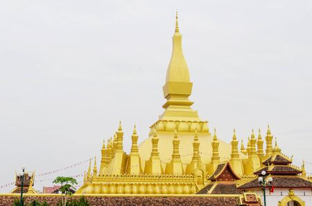 Pha That Luang (or Great Stupa) is The One Attractive Landmark of Vientiane City of Laos.
