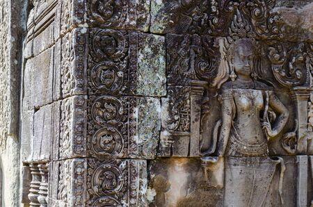 Bayon Temple in Angkor Thom is The Heritage of Khmer Empire at Siem Reap Province, Cambodia. Foto de archivo - 150112898