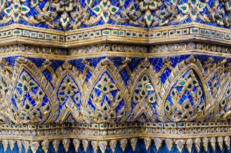 Thai Ornamental Pattern in Traditional Style is Decorated with Colorful Ceramic at Stupa of Wat Pho Monastery at Bangkok, Thailand.
