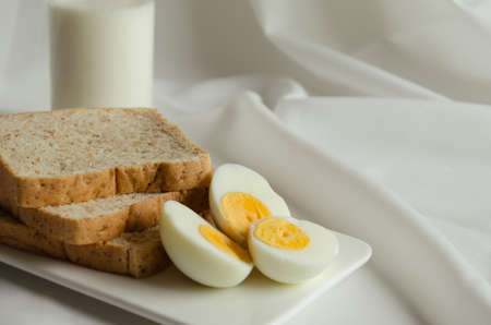 Sliced Whole Wheat Bread, Boiled Egg and Milk for Breakfast.