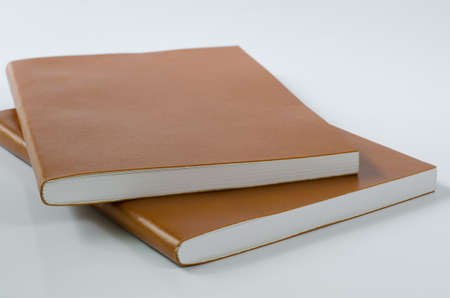 Leather Cover Notebooks on White Background.