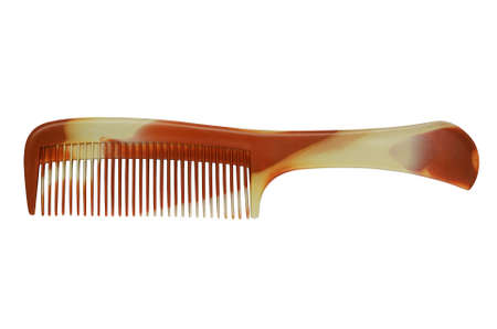 Brown Platic Comb Isolated on White Background. Foto de archivo