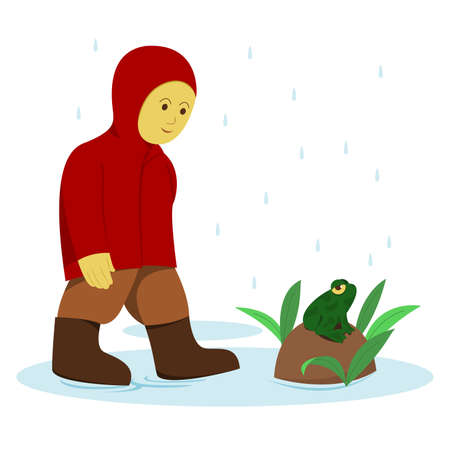 Little Boy in Red Raincoat and Frog in the Rain. Vectores