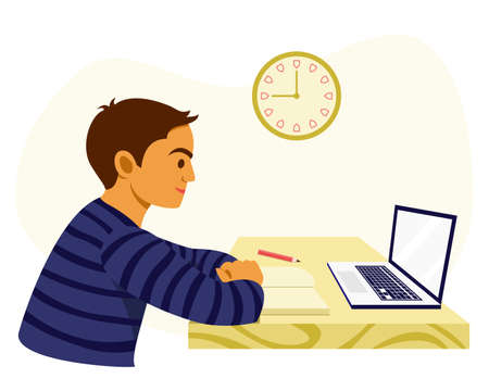 Boy Learn from Home by the Online Learning Course.