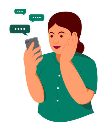 Chubby Woman is Happy with Chat on the Mobile Phone.