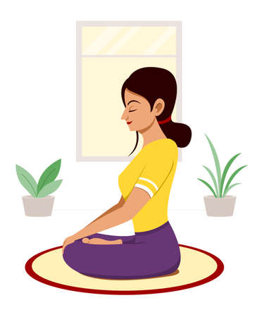 Woman Workout by Yoga Meditation at Home. Vectores