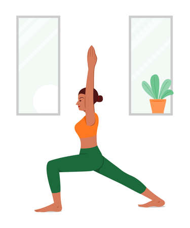 Woman Workout by Yoga at Home.