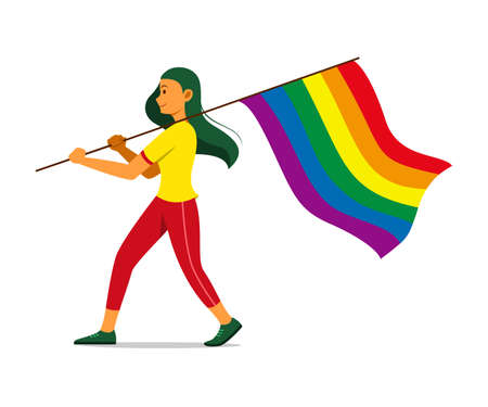 Woman Hold Rainbow Flag for the LGBT Movement.