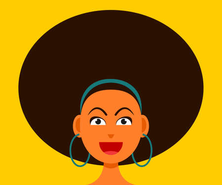 The Woman Smiling Face with Big Afro Hair. Vectores