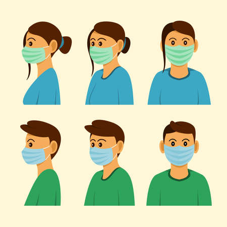 The People wear Mask in Three Different Sides of Position.
