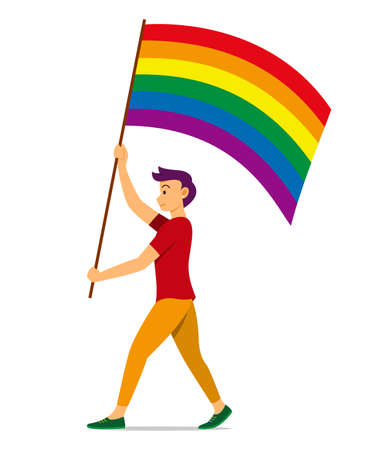 Man Hold Rainbow Flag for the LGBT Movement.