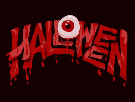 Halloween Text with the Bloody Eyeball in Horror Style.