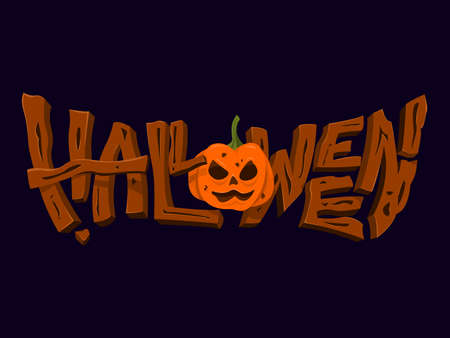 Halloween Text with the Jack O'lantern in Horror Style.
