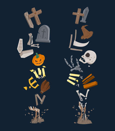 Halloween Text is Formed from Scattered Element of Halloween.
