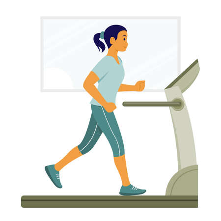 Woman Workout by Run on the Treadmill Machine.