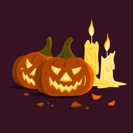 The Jack O'lantern and Candles for the Halloween Wallpaper.