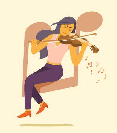 Woman Sit on the Big Music Note Symbol and Enjoy to Play Violin.