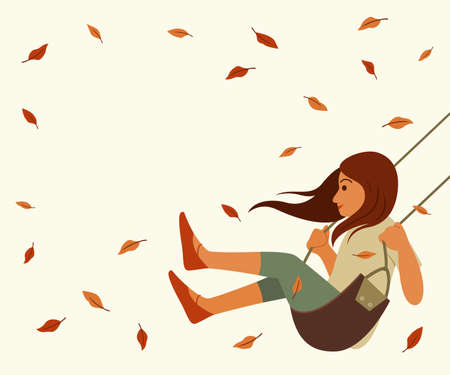 Girl Play Swing and Dried Leaves Floating in the Wind for Season of Autumn Wallpaper.