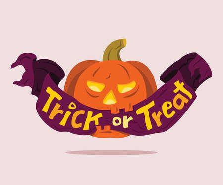 The Jack O'lantern Hold a Ribbon of Trick or Treat Wording in Mouth. Vektorgrafik