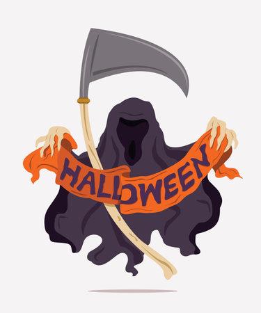The God of Death Hold a Ribbon of Halloween Wording in Bone Hands. Vektorgrafik