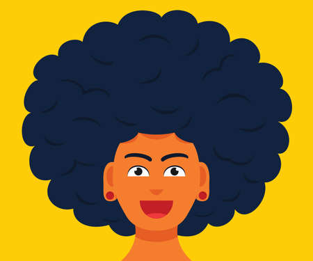 The Man Smiling Face with Big Afro Hair. 向量圖像