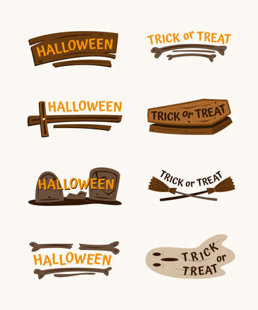 Set of Hand Drawn Halloween Labels with Words and Spooky Elements.