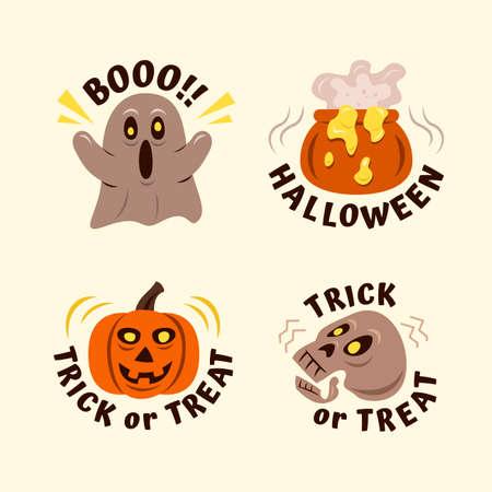 Set of Hand Drawn Halloween Labels with Spooky Elements. Vektorgrafik