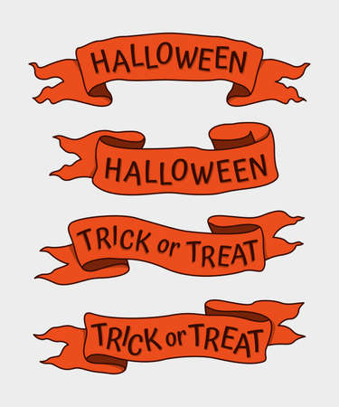 Set of Hand Drawn Halloween Ribbons with Words.