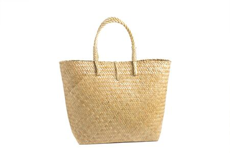 Beautiful bags made from natural materials. Concept of environmental protection On a white background
