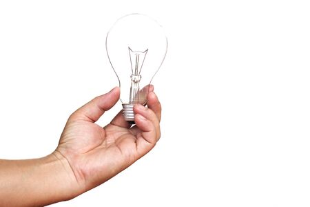 man with a light bulb On a white background