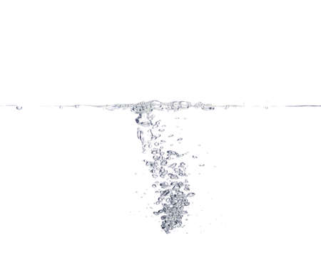 Water with water waves and bubbles separately on a white background