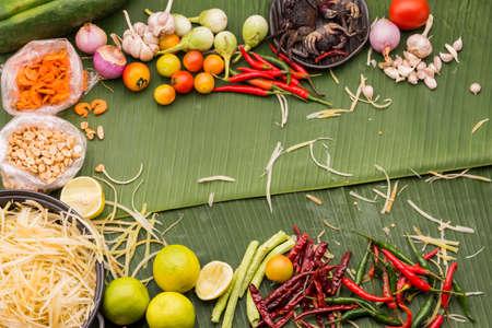 Papaya salad ingredient on green leaf