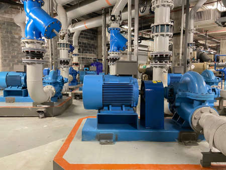 Chiller rooms, large industrial refrigeration rooms, including motor and water pipes