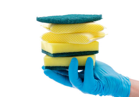 Wearing blue gloves, holding cleaning supplies, kitchen utensils on a white background