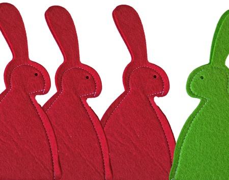 groene en rode konijntjes