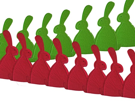 rode en groene konijntjes Stockfoto