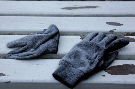 icy: A pair of icy gloves Stock Photo