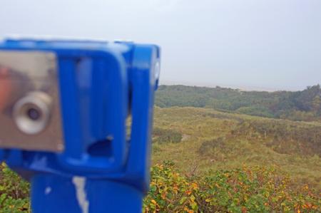 mit: Blick mit einem Fernrohr ?ber die D?nen bis zur NordseePanoramic view over the dunes Stock Photo