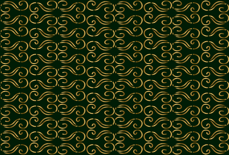 elegantly: Abstract vintage seamless pattern. Gold ornament on green background