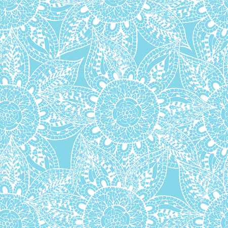 Abstract flower seamless pattern. Hand drawn oriental pattern. White outlines on blue background