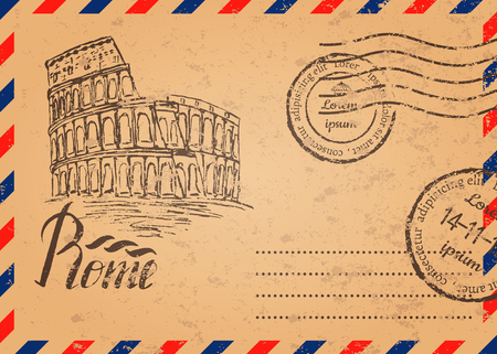 Retro envelope with stamps, Coliseum, lettering Rome