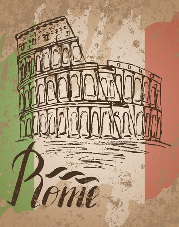 colosseo: Vector illustration, Rome label with hand drawn Coliseum, lettering Rome and italian flag Illustration