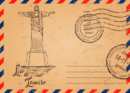 cristo: Retro envelope with stamps, Christ the Redeemer, lettering Rio de Janeiro
