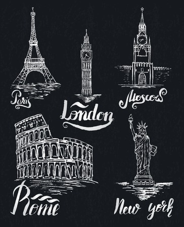 old new york: Set of New york, Moscow, Paris, Rome, London labels on a dark shaby background, lettering by a brush pen