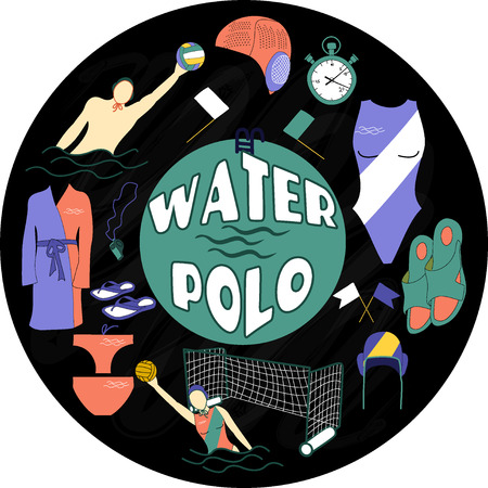 water polo: Water polo color label on blackboard