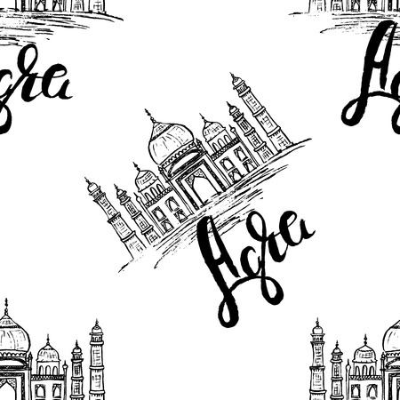agra: Seamless pattern, Agra label with hand drawn the Taj Mahal, lettering Agra